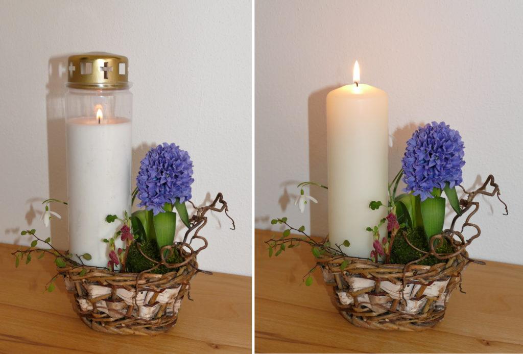 Kerzen im Pflanzkorb